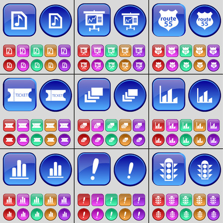 traffic ticket: Music file, Graph, Route 55, Ticket, Gallery, Diagram, Graph, Exclamation mark, Traffic lights. A large set of multi-colored buttons. illustration