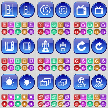 countdown: Door, Countdown, Retro TV, Notebook, Building, Reload, Light bulb, Gallery, Domain. A large set of multi-colored buttons. illustration