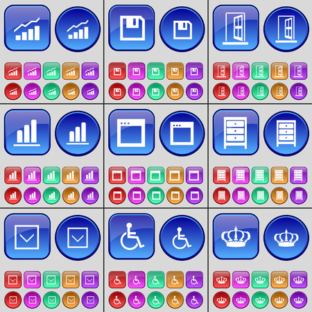 disabled person: Graph, Floppy disk, Archive, Arrow down, Disabled person, Crown. A large set of multi-colored buttons. illustration
