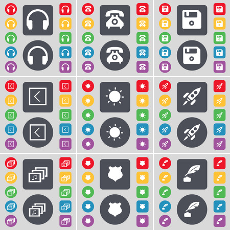 ink pot: Headphones, Retrophone, Floppy, Arrow left, Light, Rocket, Gallery, Police badge, Ink pot icon symbol. A large set of flat, colored buttons for your design. illustration Stock Photo