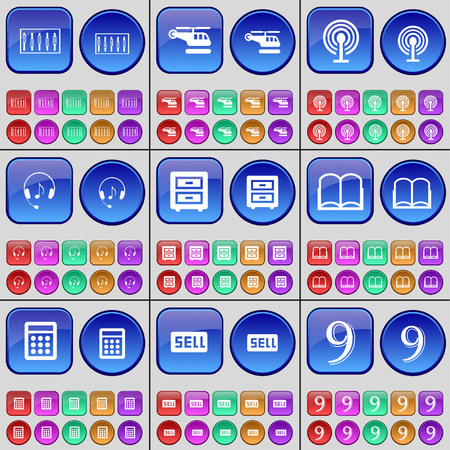 bedtable: Equalizer, Helicopter, Wi-Fi, Headphones, Bed-table, Book, Calculator, Sell, Nine. A large set of multi-colored buttons. illustration