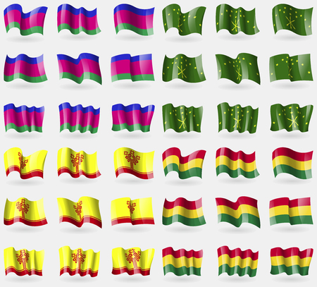 kuban: Kuban, Adygea, Chuvashia, Bolivia. Set of 36 flags of the countries of the world. illustration Stock Photo