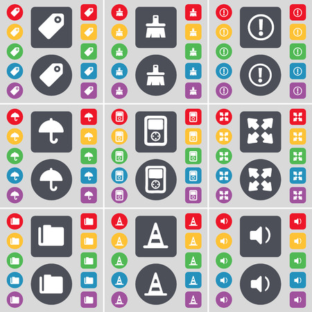 full screen: Tag, Brush, Warning, Umbrella, Player, Full screen, Folder, Cone, Sound icon symbol. A large set of flat, colored buttons for your design. illustration