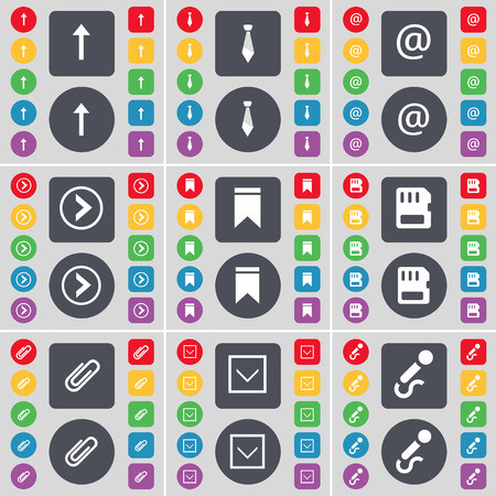 up marker: Arrow up, Tie, Mail, Arrow right, Marker, SIM card, Clip, Arrow down, Microphone icon symbol. A large set of flat, colored buttons for your design. illustration