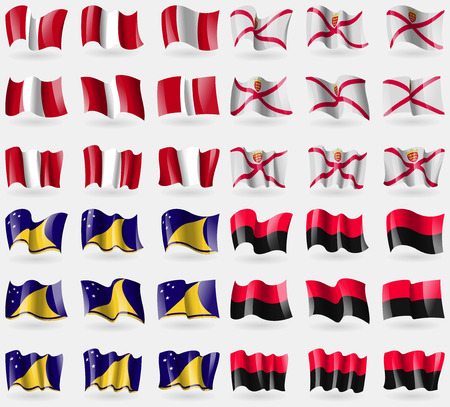 tokelau: Peru, Jersey, Tokelau, UPA. Set of 36 flags of the countries of the world. illustration