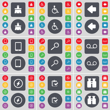 disabled person: Brush, Disabled person, Arrow left, Tablet PC, Magnifying glass, Cassette, Flash, Survey, Binoculars icon symbol. A large set of flat, colored buttons for your design. illustration