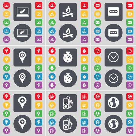 checkpoint: Laptop, Camfire, Cassette, Checkpoint, Stopwatch, Arrow down, MP3 player, Earth icon symbol. A large set of flat, colored buttons for your design. illustration