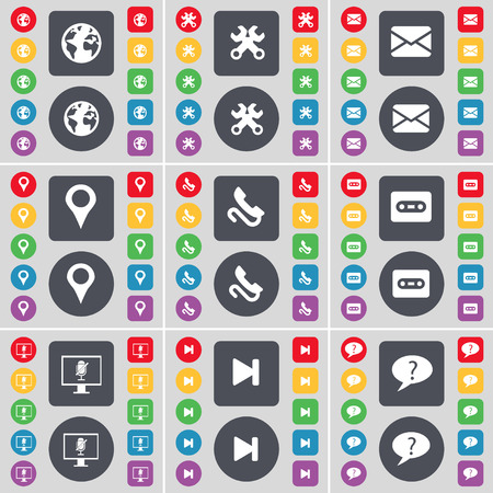 skip: Earth, Wrenches, Message, Checkpoint, Receiver, Cassette, Monitor, Media skip, Chat cloud icon symbol. A large set of flat, colored buttons for your design. illustration
