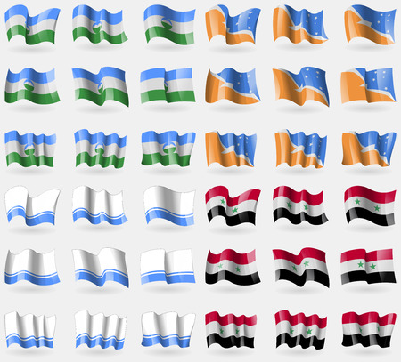 tierra: KabardinoBalkaria, Tierra del Fuego Province, Altai Republic, Syria. Set of 36 flags of the countries of the world. illustration