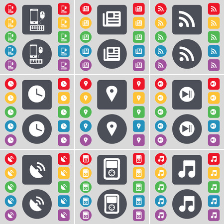 skip: Smartphone, Newspaper, RSS, Clock, Checkpoint, Media skip, Satellite dish, Player, Note icon symbol. A large set of flat, colored buttons for your design. illustration