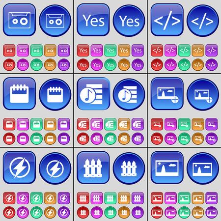 playlist: Cassette, Yes, Codem, Calendar, Playlist, Picture, Flash, Fence. A large set of multi-colored buttons. illustration