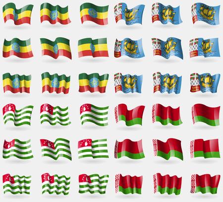pierre: Ethiopia, Saint Pierre and Miquelon, Abkhazia, Belarus. Set of 36 flags of the countries of the world. illustration Stock Photo