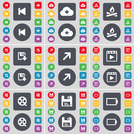 media player: Media skip, Cloud, Campfire, Floppy, Full screen, Media player, Videotape, Floppy, Battery icon symbol. A large set of flat, colored buttons for your design. illustration