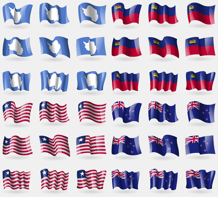 new zeland: Antarctica, Liechtenstein, Liberia, New Zeland. Set of 36 flags of the countries of the world. illustration Stock Photo