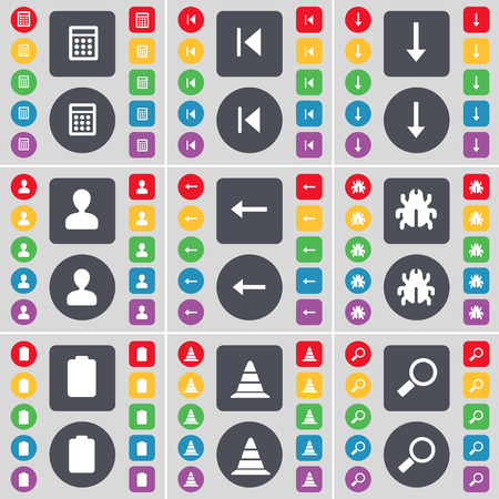 arrow down: Calculator, Media skip, Arrow down, Avatar, Arrow left, Bug, Battery, Cone, Magnifying glass icon symbol. A large set of flat, colored buttons for your design. illustration