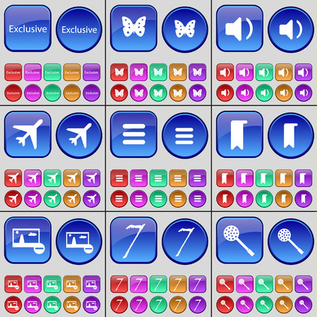 skimmer: Exclusive, Butterfly, Sound, Airplane, Apps, Marker, Picture, Seven, Skimmer. A large set of multi-colored buttons. illustration