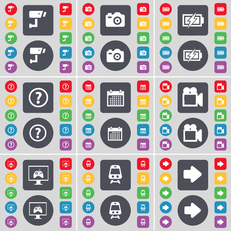 arrow right icon: CCTV, Camera, Charging, Question mark, Calendar, Film camera, Monitor, Train, Arrow right icon symbol. A large set of flat, colored buttons for your design. illustration
