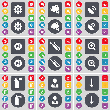 arrow down icon: Gear, CCTV, Satellite dish, Media skip, Microphone connector, Plus, Fire extinguisher, Avatar, Arrow down icon symbol. A large set of flat, colored buttons for your design. illustration