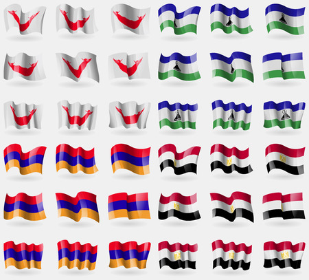 nui: Easter Rapa Nui, Lesothe, Armenia, Egypt. Set of 36 flags of the countries of the world. illustration