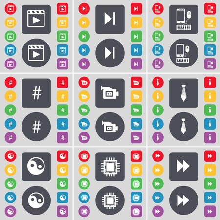 skip: Media player, Media skip, Smartphone, Hashtag, Film camera, Tie, Yin-Yang, Processor, Rewind icon symbol. A large set of flat, colored buttons for your design. illustration Stock Photo