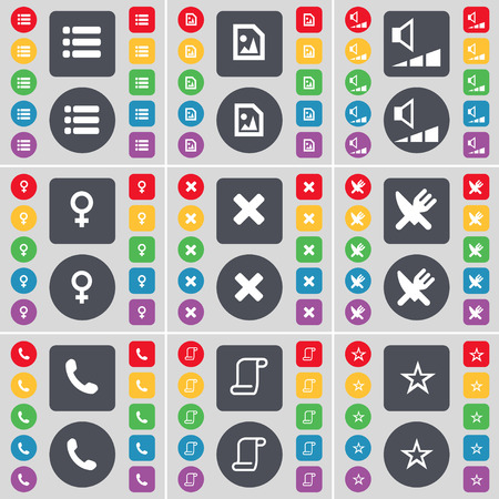 venus symbol: List, Media file, Volume, Venus symbol, Stop, Fork and knife, Receiver, Scroll, Star icon symbol. A large set of flat, colored buttons for your design. illustration