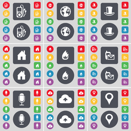 house fire: MP3 player, Earth, Silk hat, House, Fire, SMS, Microphone, Cloud, Checkpoint icon symbol. A large set of flat, colored buttons for your design. illustration