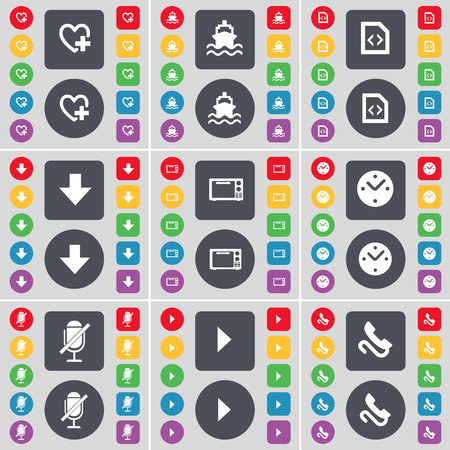 arrow down: Heart, Ship, File, Arrow down, Microwave, Clock, Microphone, Media play, Receiver icon symbol. A large set of flat, colored buttons for your design. illustration