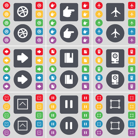 arrow right: Ball, Hand, Airplane, Arrow right, Dictionary, Speaker, Arrow up, Pause, Frame icon symbol. A large set of flat, colored buttons for your design. illustration