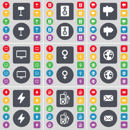 venus symbol: Signpost, Speaker, Signpost, Monitor, Venus symbol, Earth, Flash, MP3 player, Message icon symbol. A large set of flat, colored buttons for your design. illustration