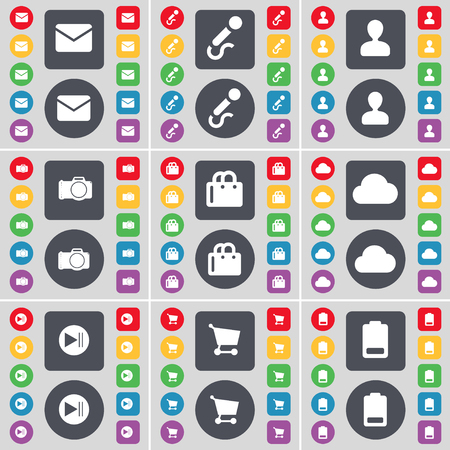 skip: Message, Microphone, Avatar, Camera, Shopping bag, Cloud, Media skip, Shopping cart, Battery icon symbol. A large set of flat, colored buttons for your design. illustration Stock Photo