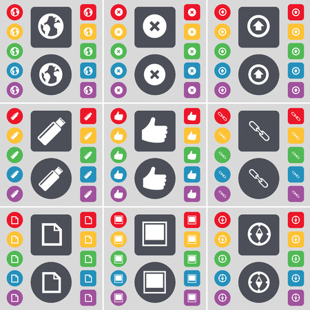 link up: Planet, Stop, Arrow up, USB, Like, Link, File, Window, Compass icon symbol. A large set of flat, colored buttons for your design. illustration