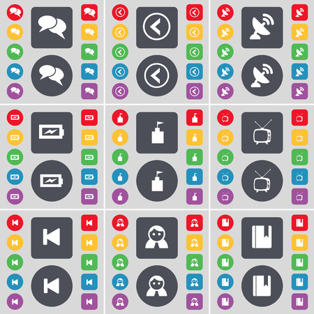 tv tower: Chat, Arrow left, Satellite dish, Charging, Flag tower, Retro TV, Media skip, Avatar, Dictionary icon symbol. A large set of flat, colored buttons for your design. illustration Stock Photo