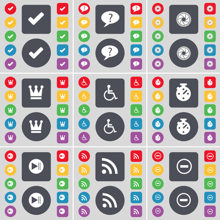 disabled person: Tick, Chat bubble, Lens, Crown, Disabled person, Stopwatch, Media skip, RSS, Minus icon symbol. A large set of flat, colored buttons for your design. illustration