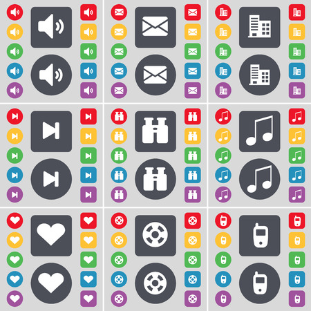 videotape: Sound, Message, Building, Media skip, Binoculars, Note, Heart, Videotape, Mobile phone icon symbol. A large set of flat, colored buttons for your design. illustration Stock Photo