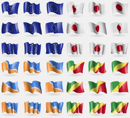 tierra del fuego: European Union, Japan, Tierra del Fuego Province, Congo Republic. Set of 36 flags of the countries of the world. illustration