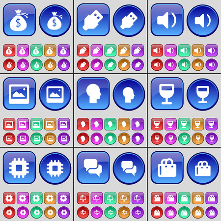chat window: Money bag, USB, Sound, Window, Silhouette, Wineglass, Processor, Chat, Shopping bag. A large set of multi-colored buttons. illustration