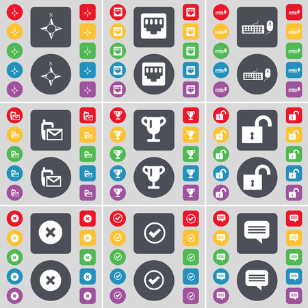 lan: Compass, LAN socket, Keyboard, SMS, Cup, Lock, Stop, Tick, Chat bubble icon symbol. A large set of flat, colored buttons for your design. illustration