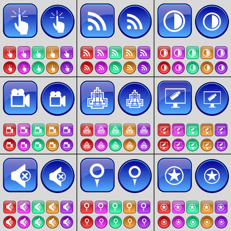 brightness: Hand, RSS, Brightness, Film camera, Building, Monitor, Mute, Checkpoint, Star. A large set of multi-colored buttons. illustration Stock Photo