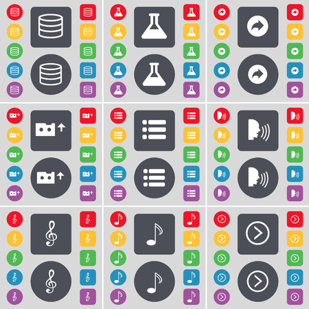 arrow right icon: Database, Flask, Back, Cassette, List, Talk, Clef, Note, Arrow right icon symbol. A large set of flat, colored buttons for your design. illustration Stock Photo