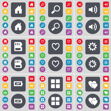 sim card: House, Magnifying glass, Sound, SIM card, Heart, Gear, Charging, Apps, Heart icon symbol. A large set of flat, colored buttons for your design. illustration