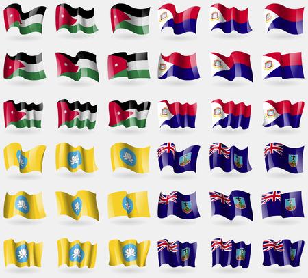 saint martin: Jordan, Saint Martin, Kamykia, Montserrat. Set of 36 flags of the countries of the world. illustration