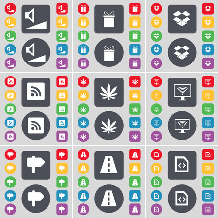 dropbox: Volume, Gift, Dropbox, RSS, Marijuana, Monitor, Signpost, Road, File icon symbol. A large set of flat, colored buttons for your design. illustration
