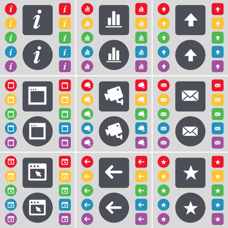 arrow up: Information, Diagram, Arrow up, Window, CCTV, Message, Arrow left, Star icon symbol. A large set of flat, colored buttons for your design. illustration