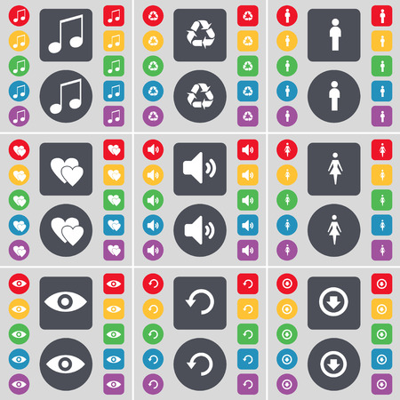 arrow down icon: Note, Recycling, Silhouette, Heart, Sound, Silhouette, Vision, Reload, Arrow down icon symbol. A large set of flat, colored buttons for your design. illustration