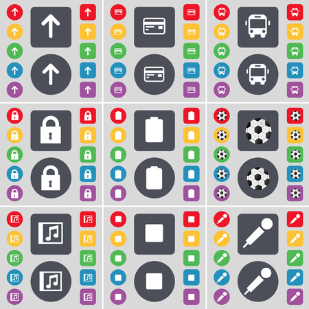 card stop: Arrow up, Credit card, Bus, Lock, Battery, Ball, Music window, Media stop, Microphone icon symbol. A large set of flat, colored buttons for your design. illustration