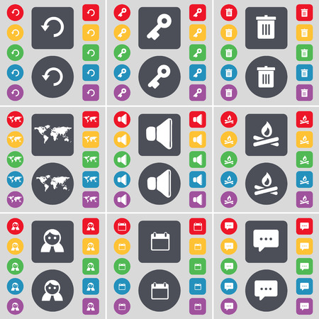 chat bubble icon: Reload, Key, Trash can, Globe, Sound, Campfire, Avatar, Calendar, Chat bubble icon symbol. A large set of flat, colored buttons for your design. illustration
