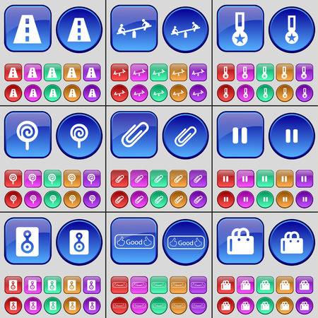 medal like: Road, Swing, Medal, Lollipop, Clip, Pause, Speaker, Like, Shopping bag. A large set of multi-colored buttons. illustration