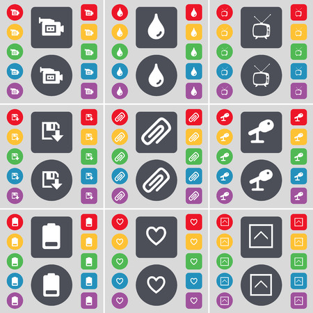 retro tv: Film camera, Drop, Retro TV, Floppy, Clip, Microphone, Battery, Heart, Arrow up icon symbol. A large set of flat, colored buttons for your design. illustration