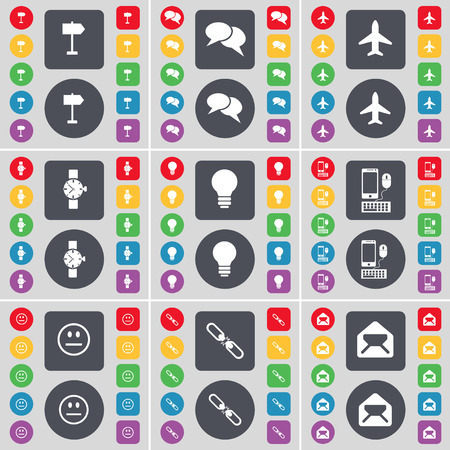 sign post: Sign post, Chat, Airplane, Wrist watch, Light bulb, Smartphone, Smile, Link, Message icon symbol. A large set of flat, colored buttons for your design. illustration Stock Photo