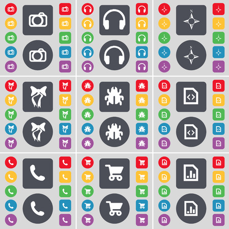 bugs shopping: Camera, Headphones, Compass, Bow, Bug, File, Receiver, Shopping cart, Graph file icon symbol. A large set of flat, colored buttons for your design. illustration